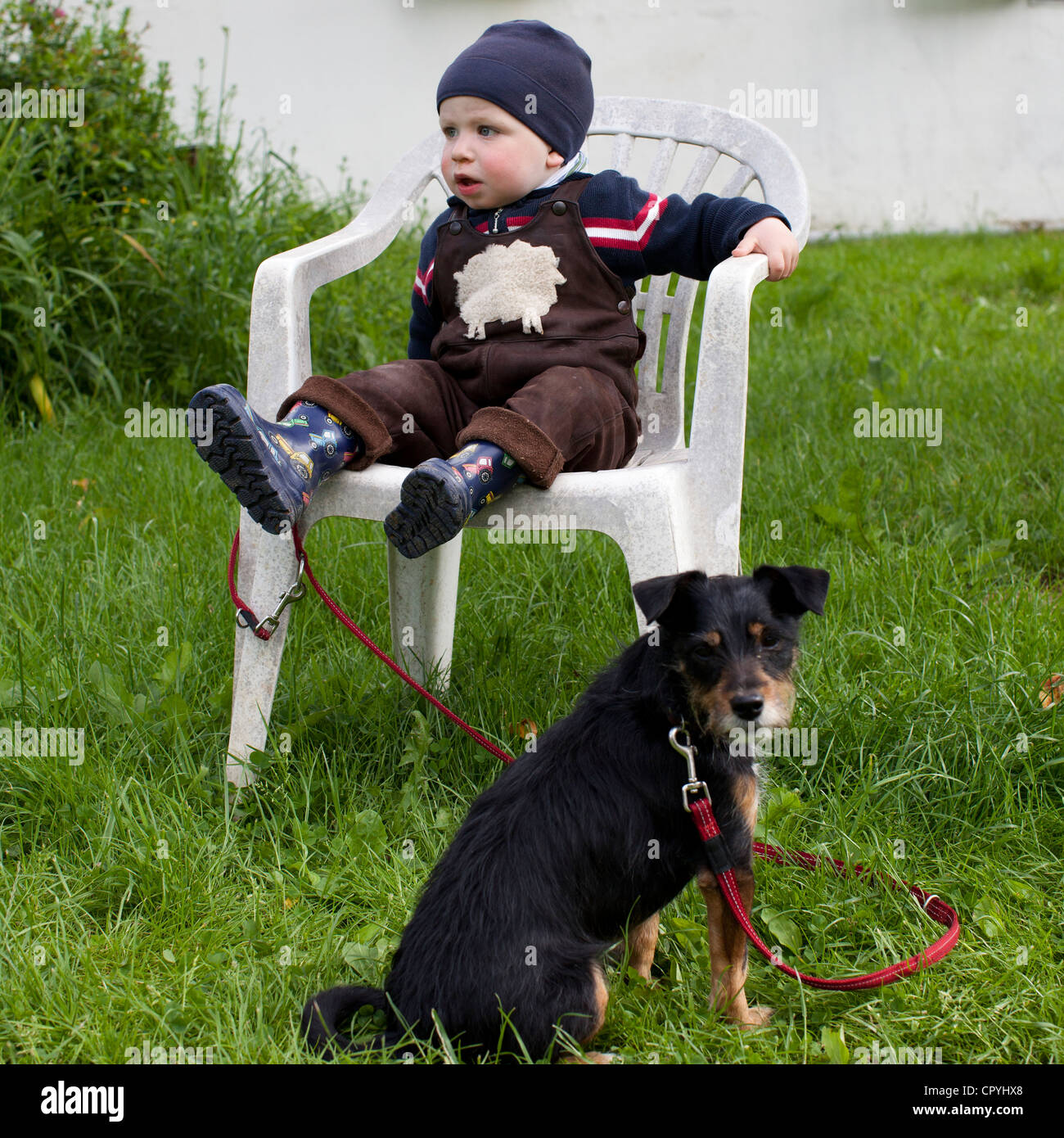 Infant boy (15 months old) sitting on a chair, accompanied by a dog on a lead - Stock Image