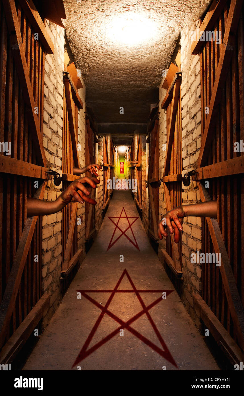 Way to hell in dark basement concept of dark vision with devil sign and pentagram - Stock Image