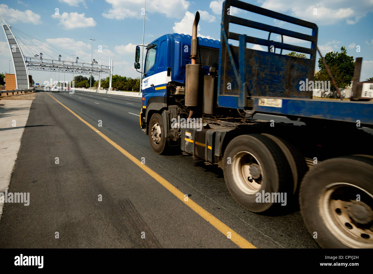 E Toll Stock Photos Images Alamy Shot Of A Truck Approaching Image