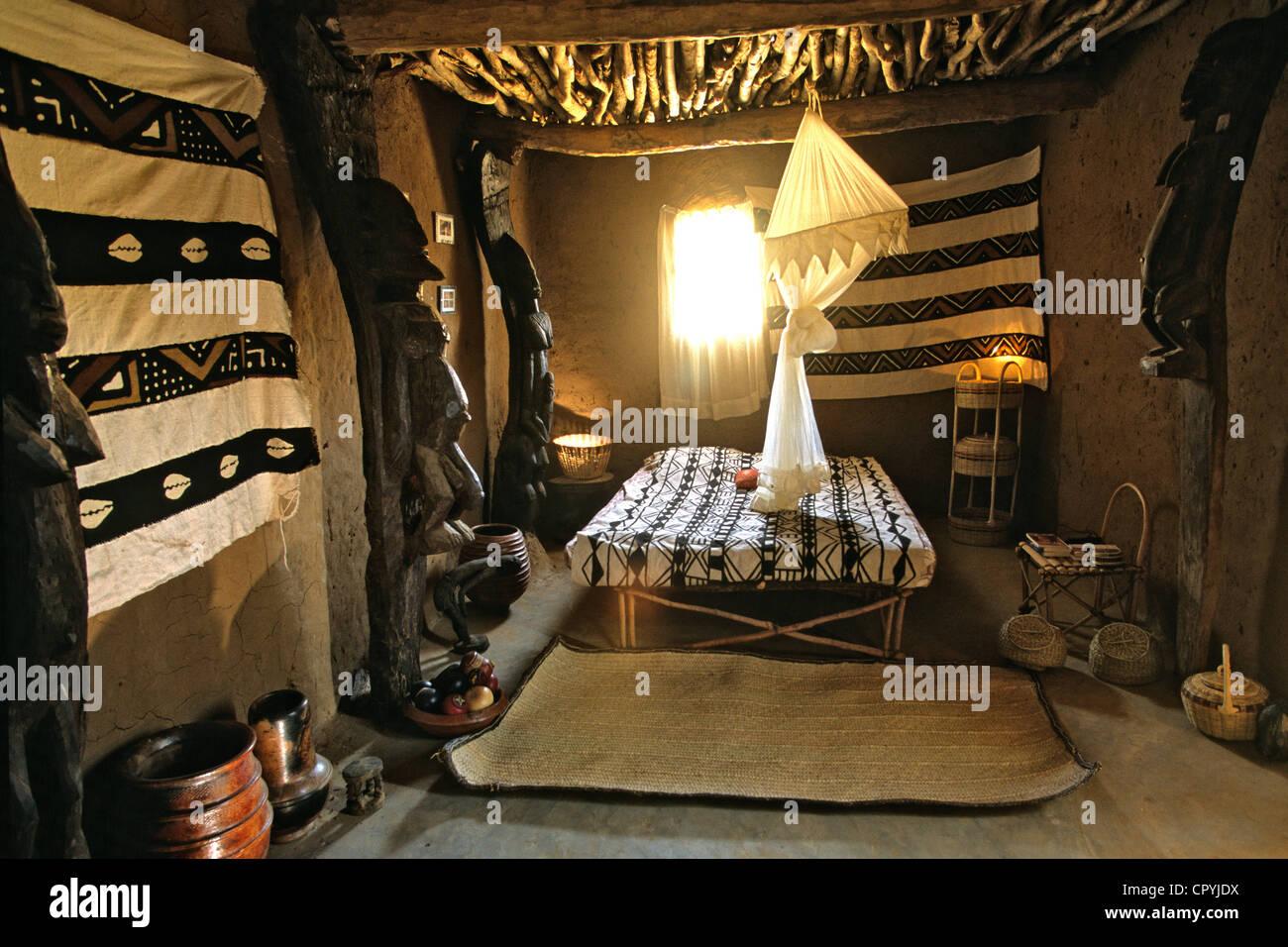 Mali, Dogon Country, Ennde, room of Alakala camp - Stock Image