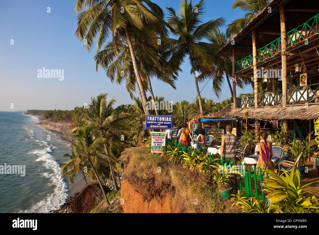 India, Kerala State, Varkala, seaside resort at the top of a cliff - Stock Image