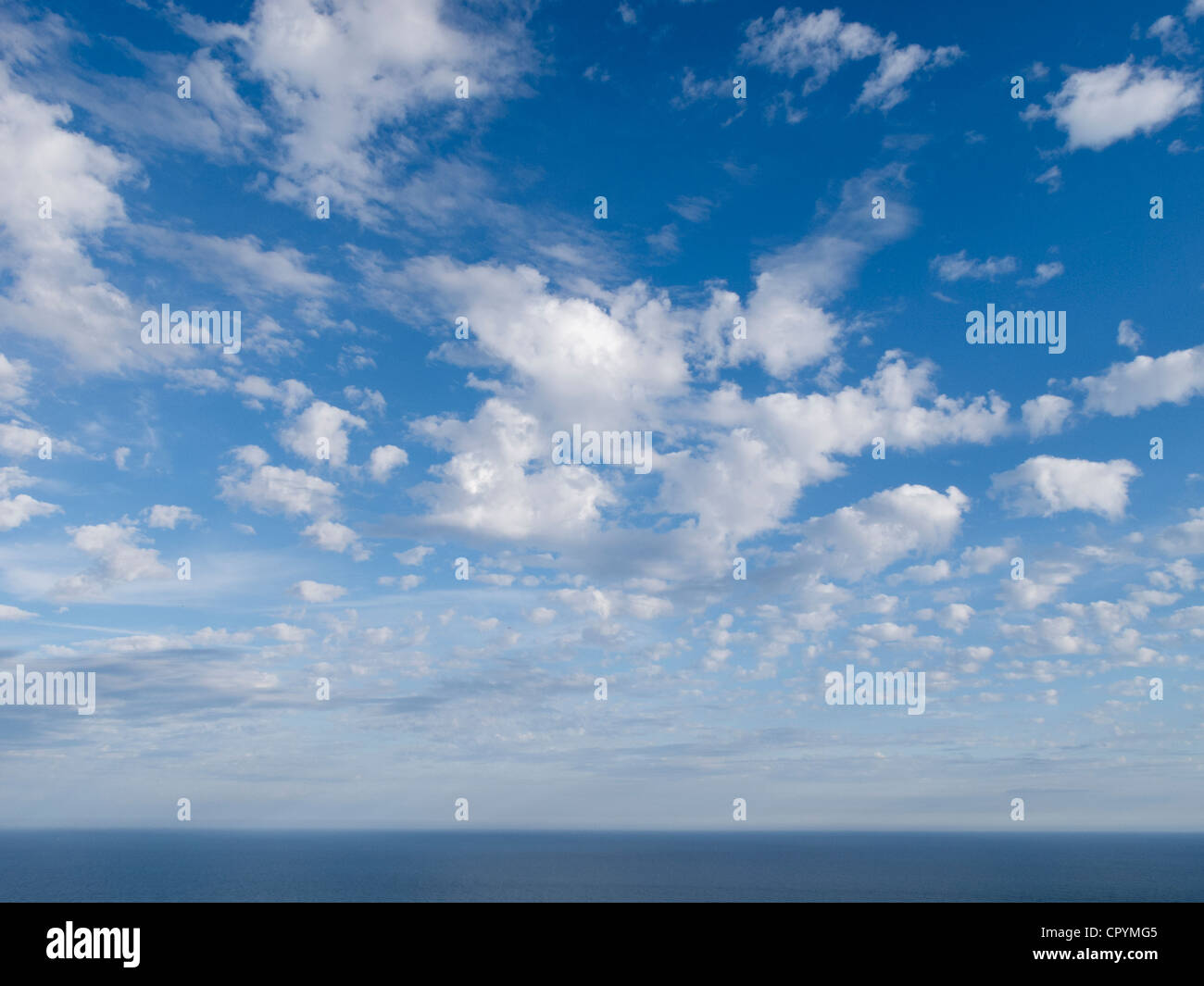 Beautiful blue sky day at seaside - Stock Image