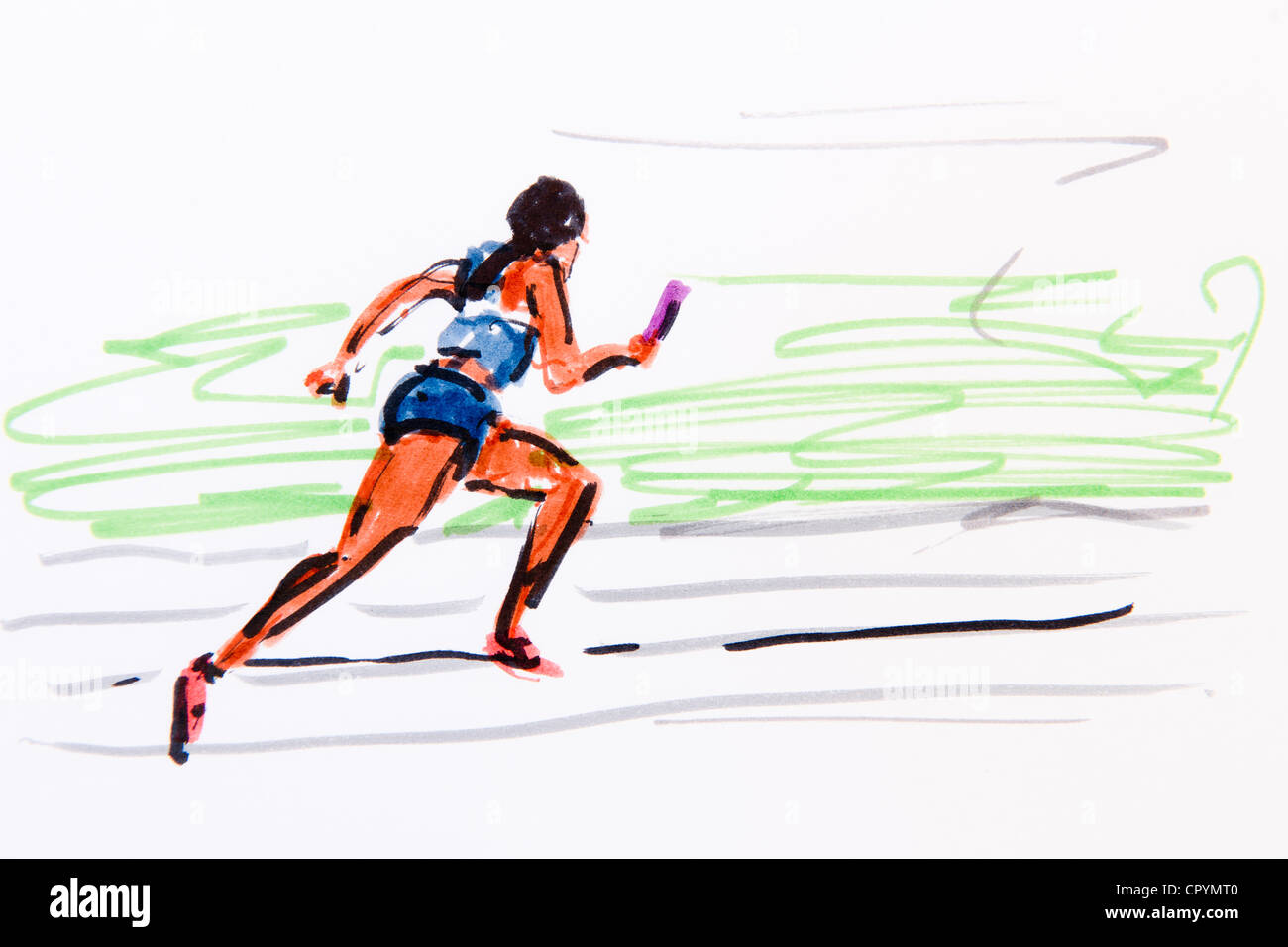 Relay race, track and field athletics, drawing by the artist Gerhard Kraus, Kriftel, illustration - Stock Image