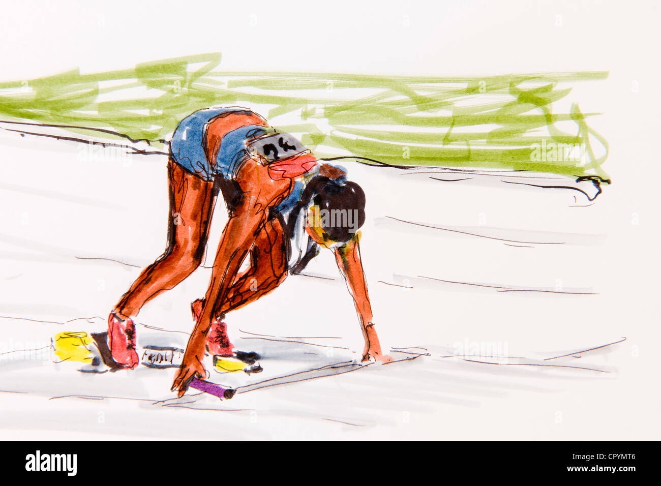 It is a graphic of Inventive Track And Field Drawing