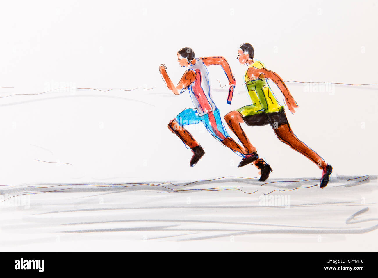 Two runners, track and field athletics, drawing by the artist Gerhard Kraus, Kriftel, illustration - Stock Image