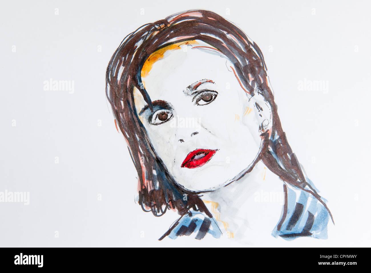 Sandra Maischberger, German TV presenter, journalist, drawing by Gerhard Kraus, Kriftel, Germany Stock Photo