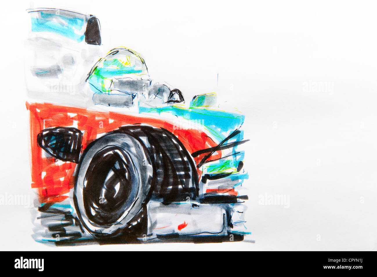 Formula One car, racing, drawing by Gerhard Kraus, Kriftel, Germany - Stock Image