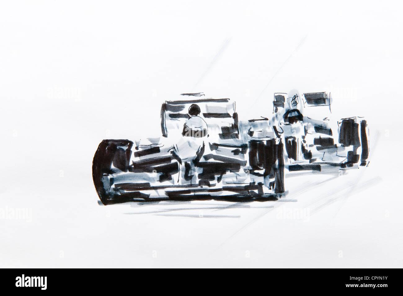 Formula One car racing, drawing by Gerhard Kraus, Kriftel, Germany - Stock Image