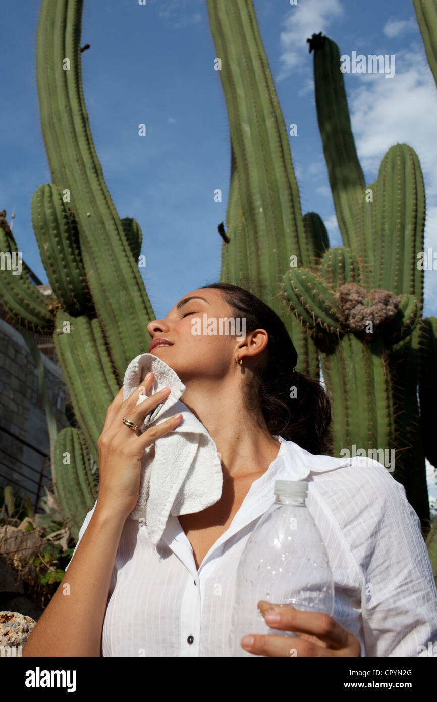 Heat wave, woman drying sweat in front of a cactus, Barcelona, Spain, Europe - Stock Image