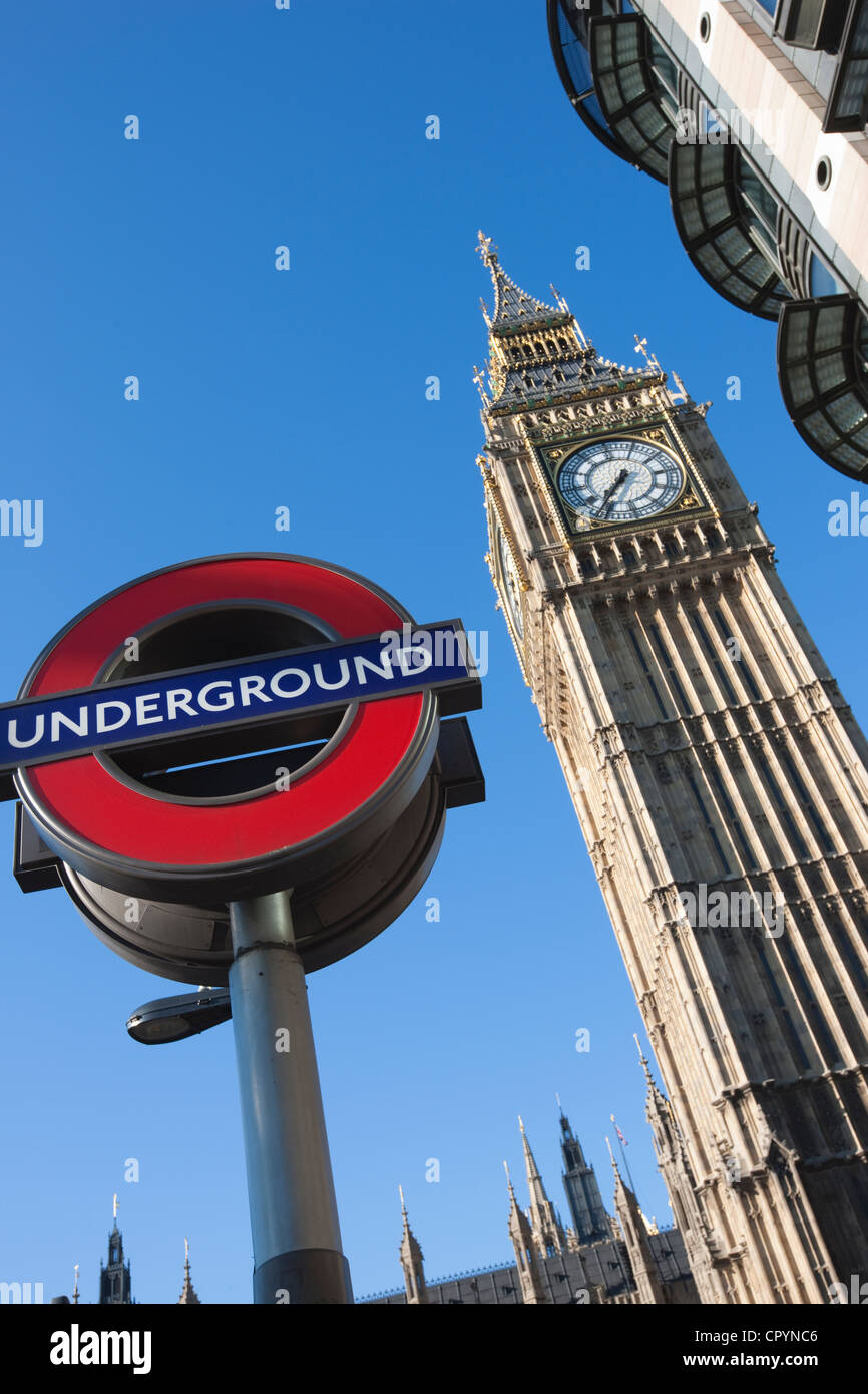 Big Ben and the Houses of Parliament with Underground sign, London, England, United Kingdom, Europe - Stock Image