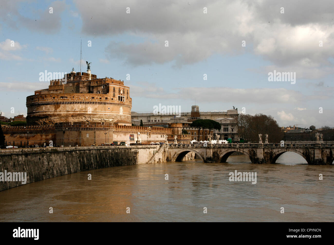 Castel Sant Angelo and River Tiber, Rome, Lazio, Italy, Europe - Stock Image