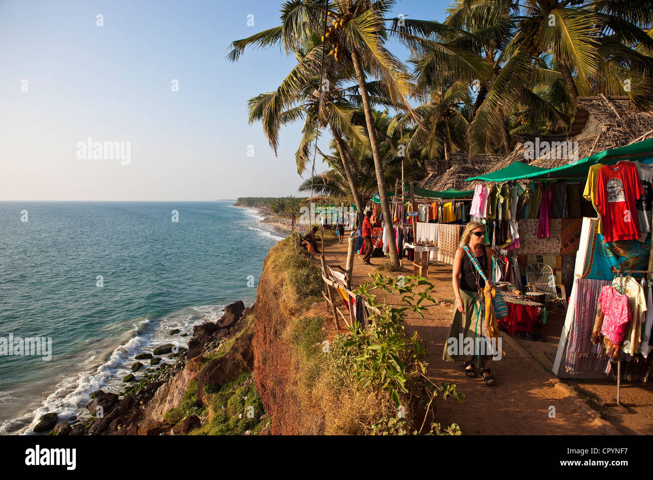 India, Kerala State, Varkala, seaside resort at the top of a cliff Stock Photo