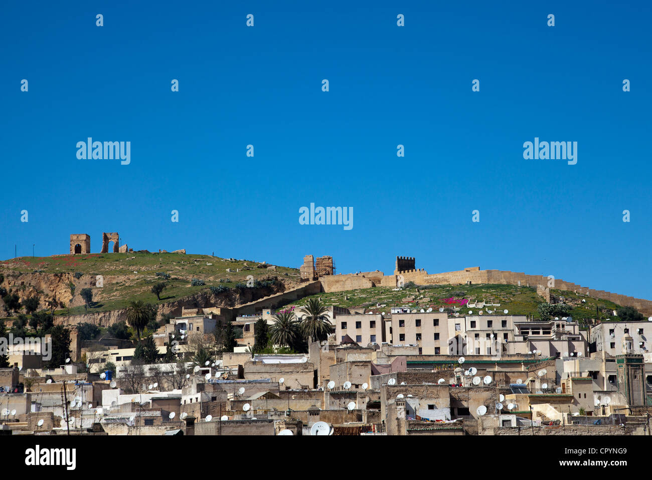 Panorama of the city of Fes or Fez in Morocco, Africa - Stock Image