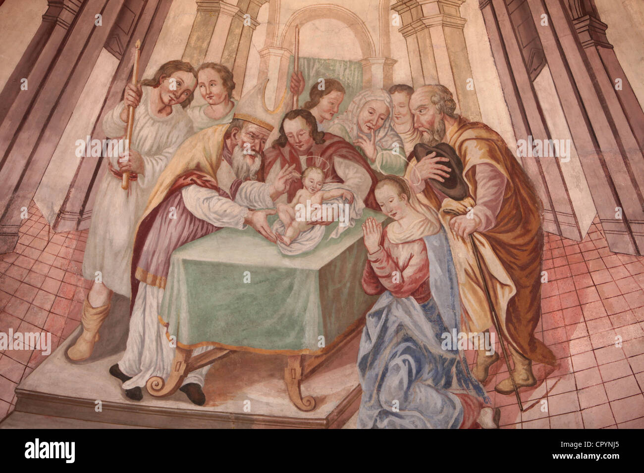 Baby Jesus in the synagogue, Our Lady of Assumption church, Cordon, Haute-Savoie, France, Europe Stock Photo