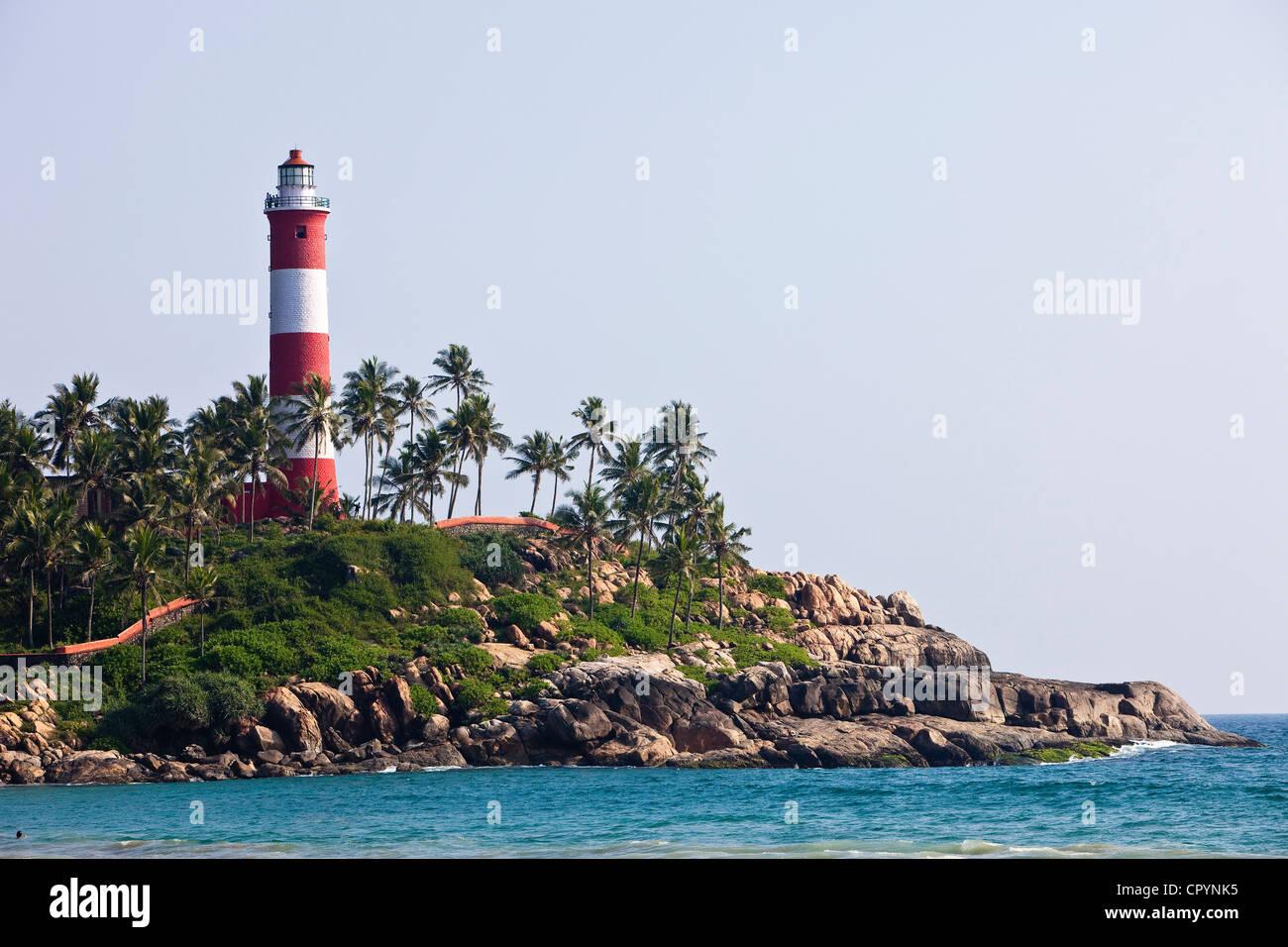 India, Kerala State, seaside resort of Kovalam, le phare - Stock Image