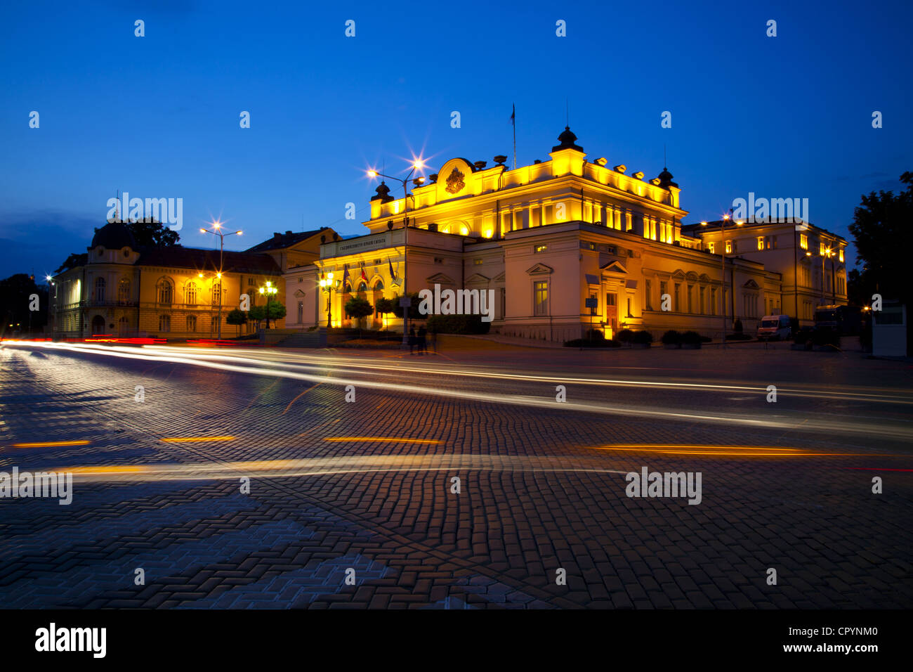 Floodlit National Assembly Building, Ploshtad National Assembly Square, Sofia, Bulgaria, Europe - Stock Image