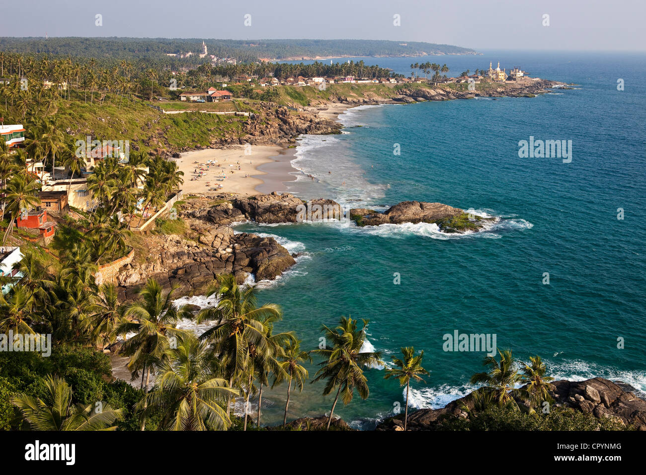 India, Kerala State, seaside resort of Kovalam (aerial view) - Stock Image