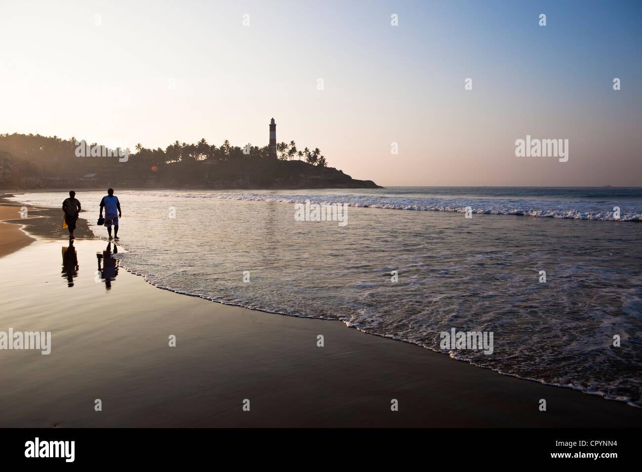 India, Kerala State, seaside resort of Kovalam, the beach - Stock Image