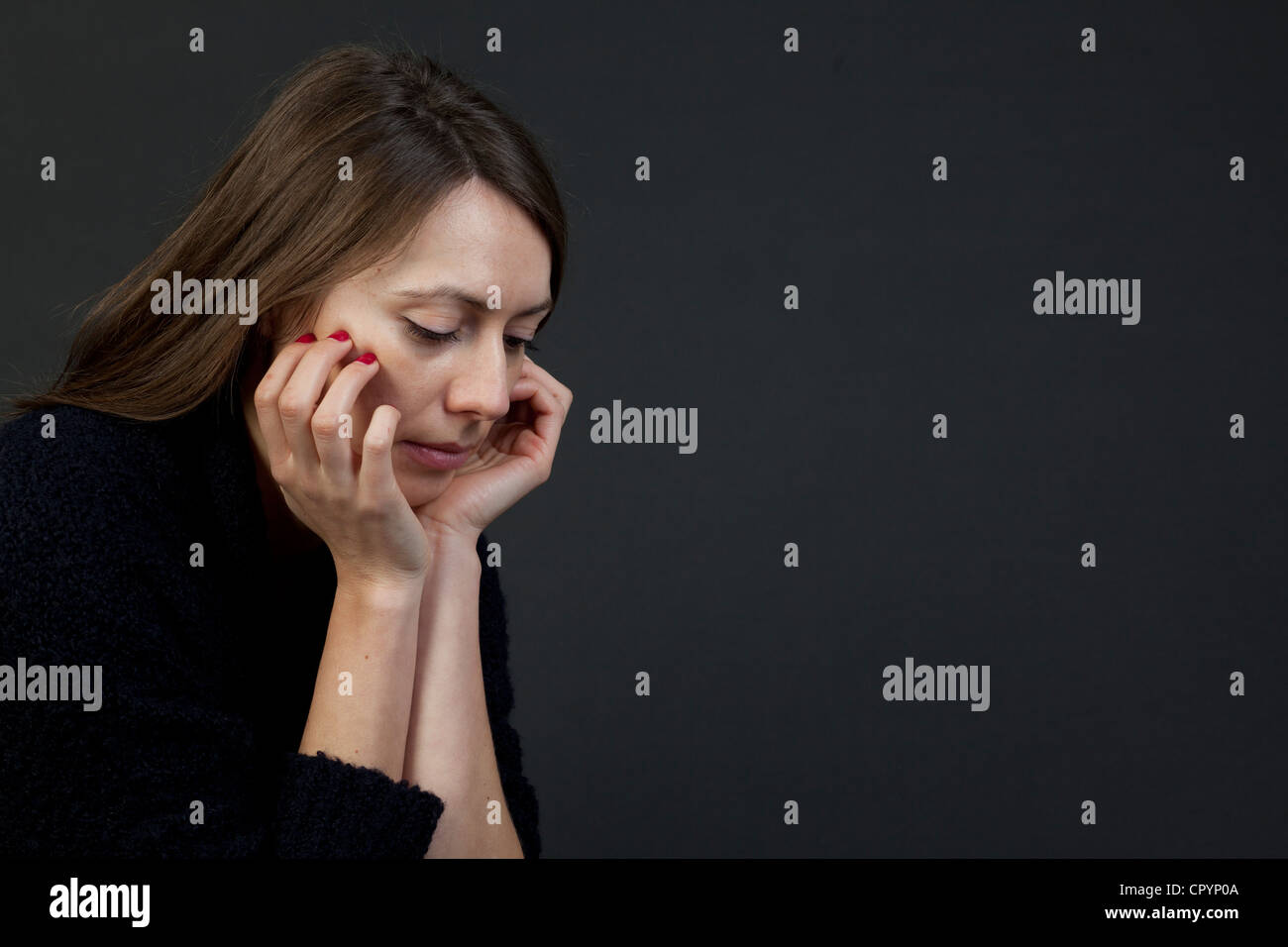 Woman, sad, depressions, worries Stock Photo