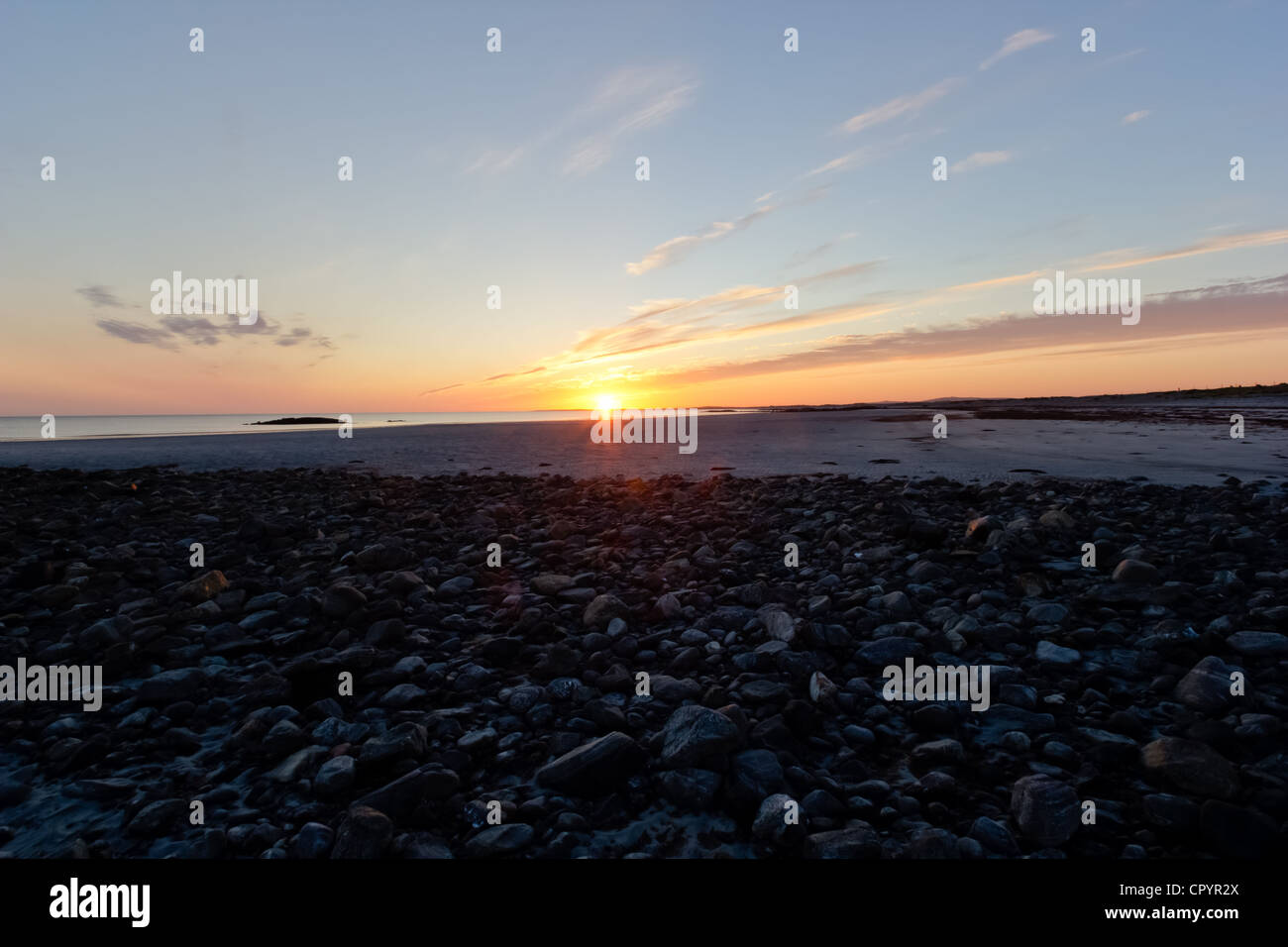 Sunset at Baleshare - Outer Hebrides (Scotland) - Stock Image