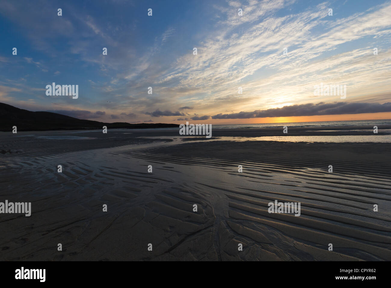 Sunset at Tangasdale - Outer Hebrides (Scotland) - Stock Image