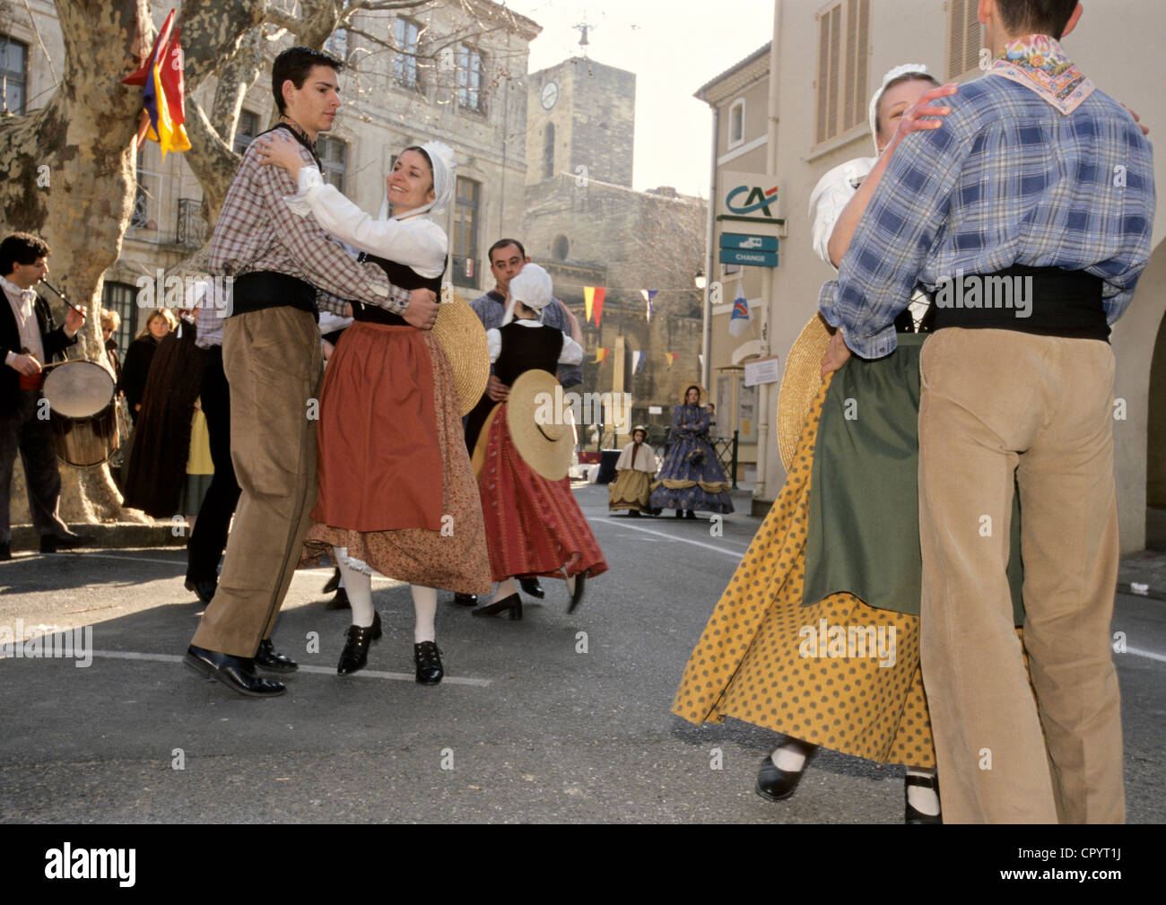 France Vaucluse Roquemaure dances street musics for celebration of Saint Valentine's day during which all inhabitants - Stock Image