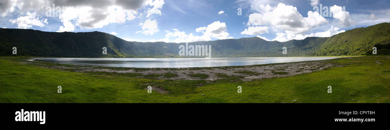 Panorama, Embakai Crater, volcano, Ngorongoro Conservation Area, Tanzania, Africa - Stock Image