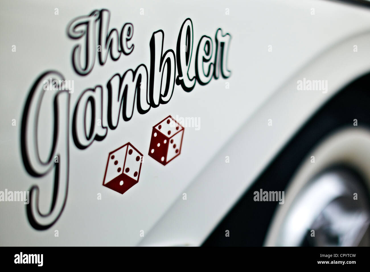 The Gambler, logo, vintage car, USA - Stock Image