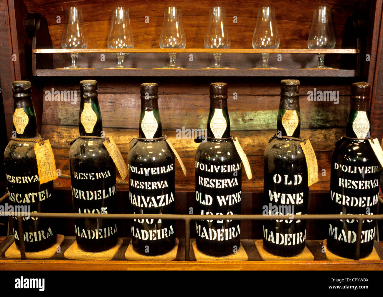 Portugal, Madeira Island, Funchal, wine of Madeira Island in the cellar of Oliveira - Stock Image