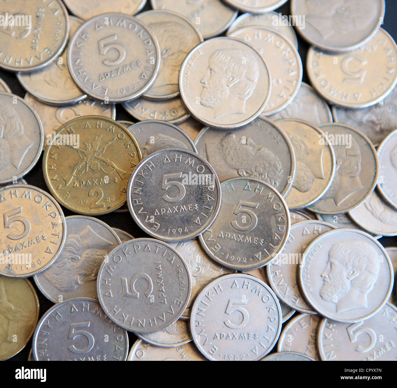 Pile of Greek Drachma coins - Stock Image