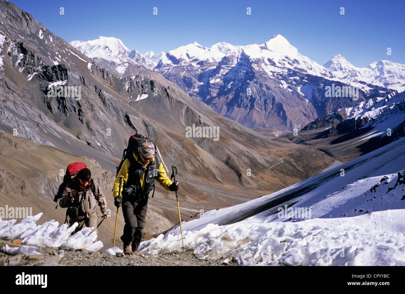 Nepal, Pokhara Province, Kang La Mount, 5300m, between the village of Naar and the track of the Annapurnas tour - Stock Image