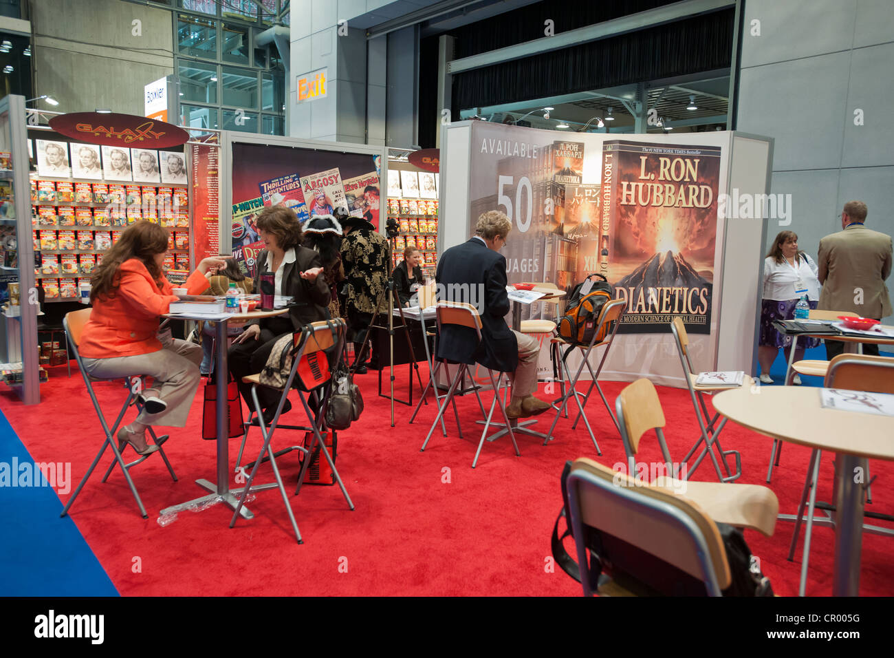 The Bridge Communications booth selling the works of L. Ron Hubbard at Book Expo America in New York - Stock Image