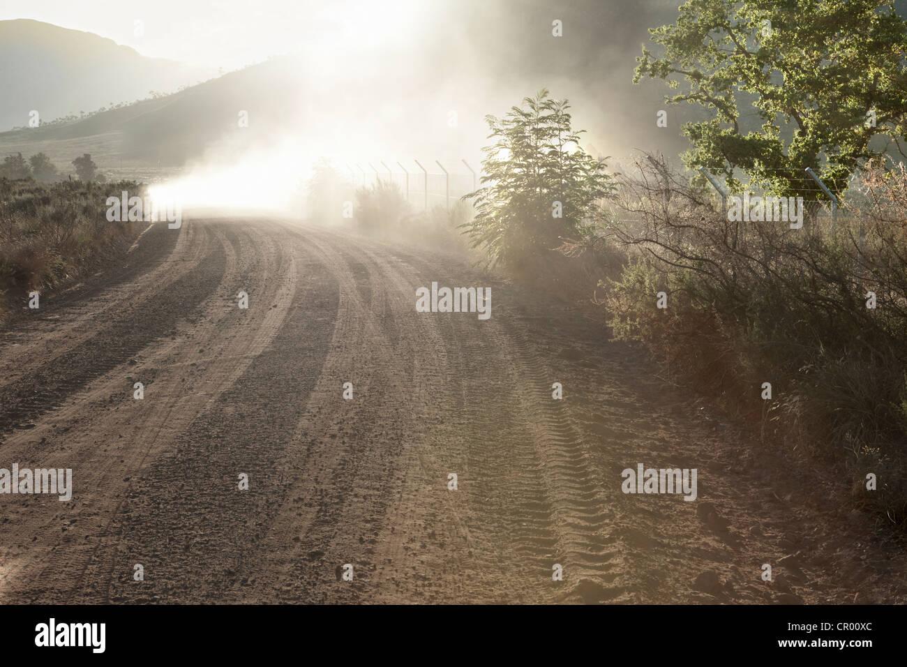 Tire tracks in rural dirt road - Stock Image