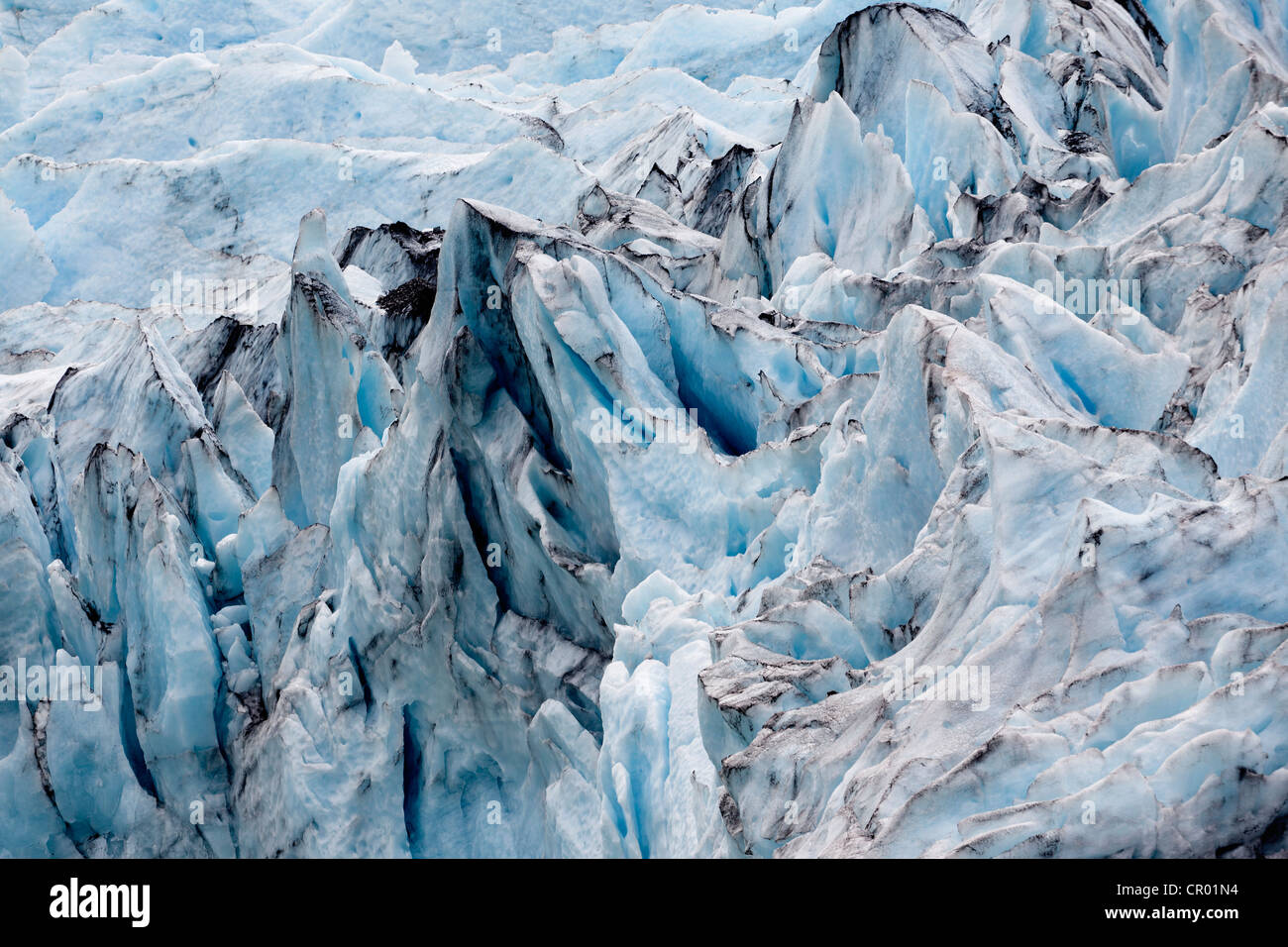 Portage Glacier in the Chugach Mountains, Kenai Peninsula near Anchorage, Alaska, USA - Stock Image