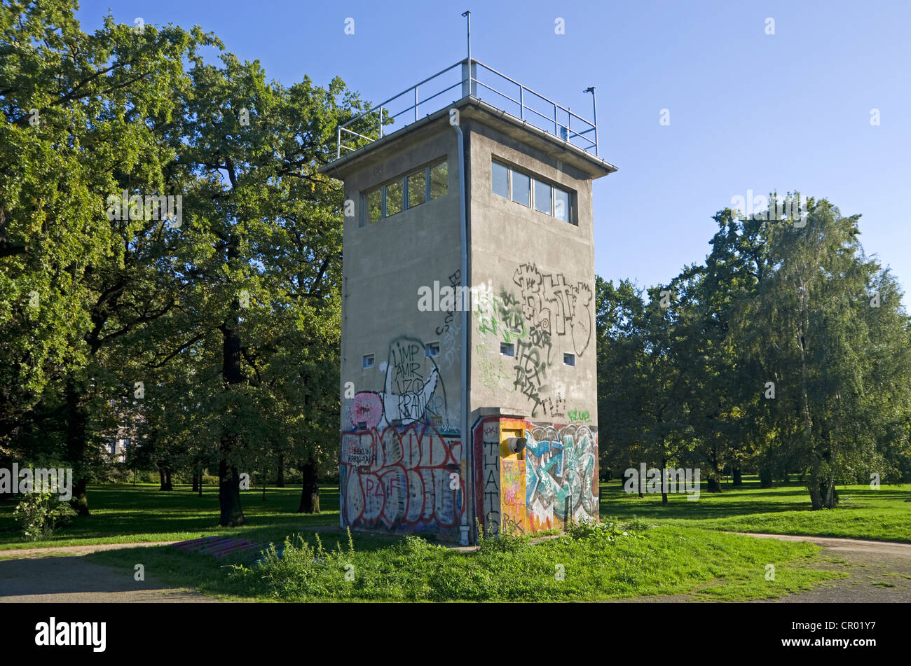 Historic watchtower of the former GDR, East Germany, Treptow district, Berlin, Germany, Europe - Stock Image