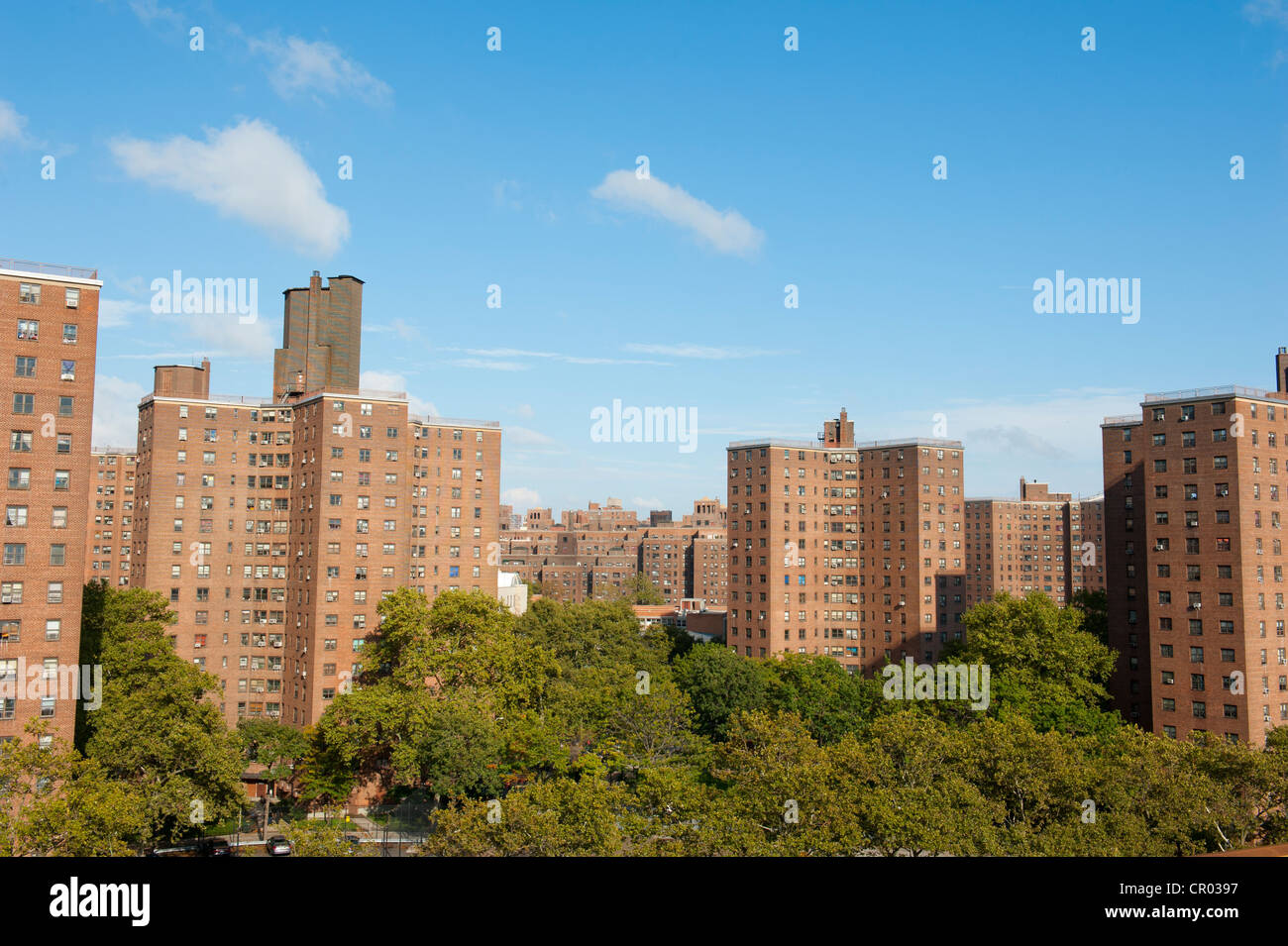 Social housing, Governor Alfred E. Smith Houses, Two Bridges Neighborhood, Lower East Side district, Manhattan, - Stock Image