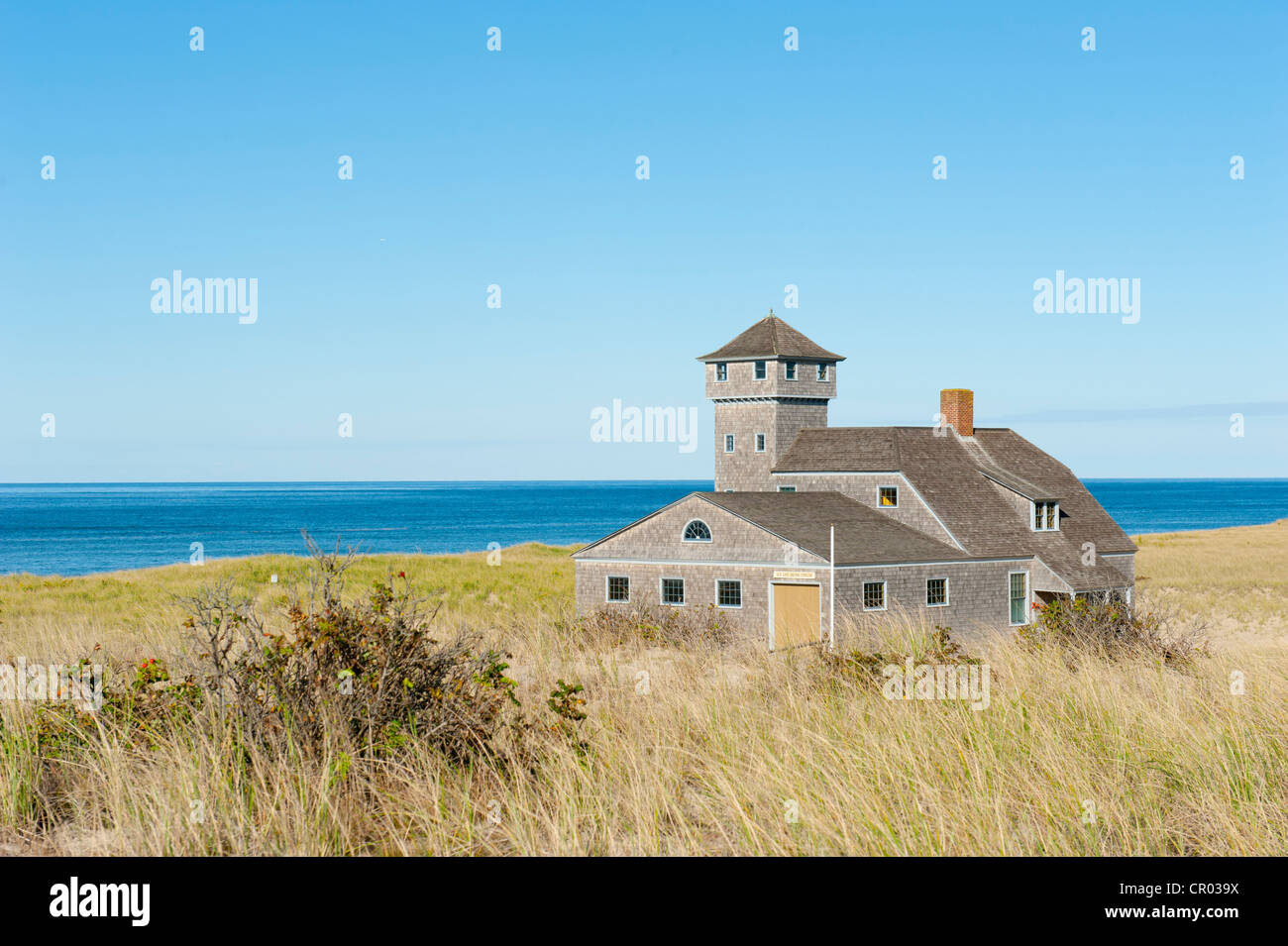Race Point Beach, Old Harbor Life-Saving Station Museum, dune on the Atlantic Ocean, nature reserve, Cape Cod National - Stock Image