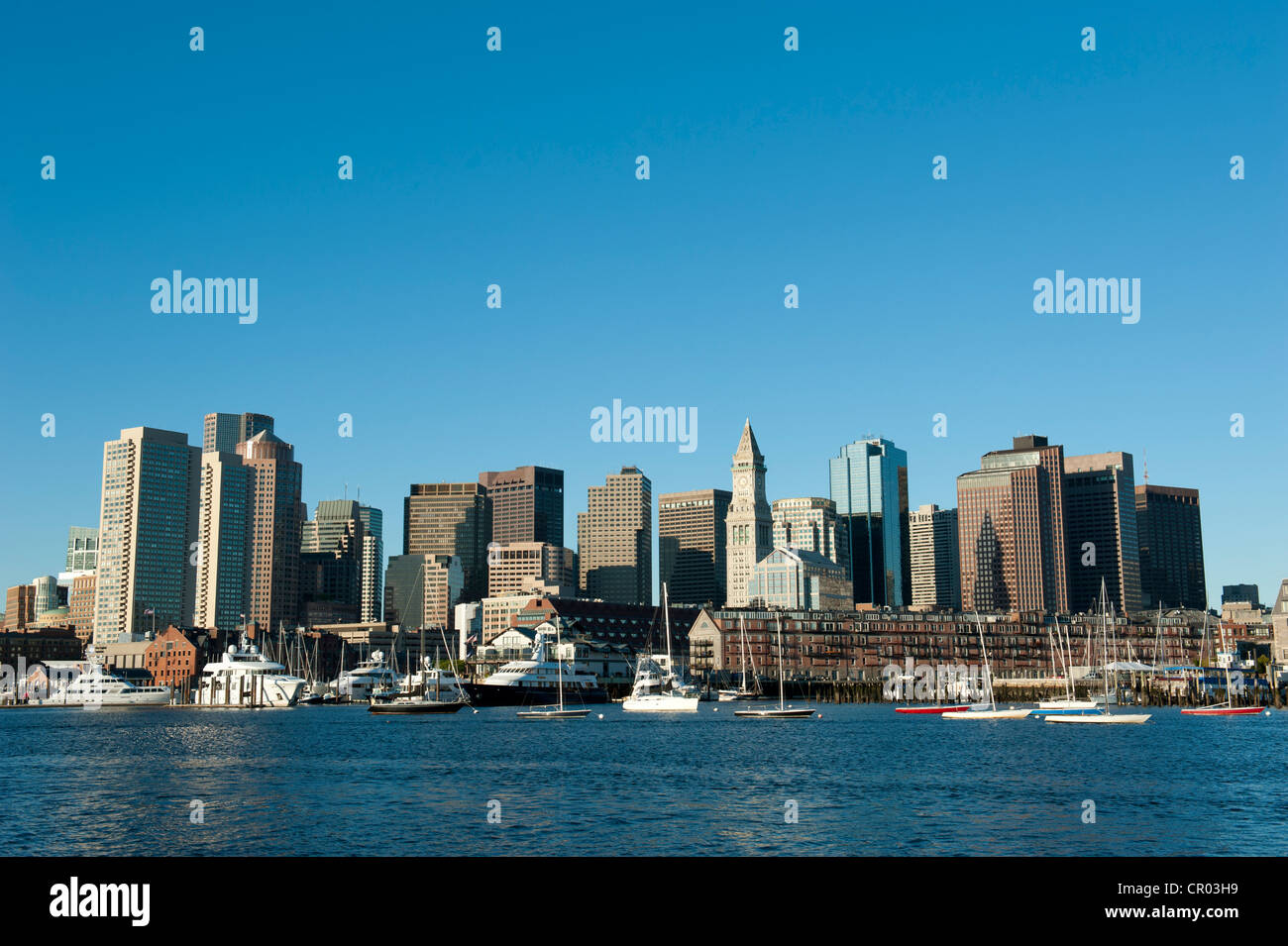 Entire skyline with Custom House Tower, Financial District, Commercial Wharf, view from Boston Harbour, Boston, - Stock Image