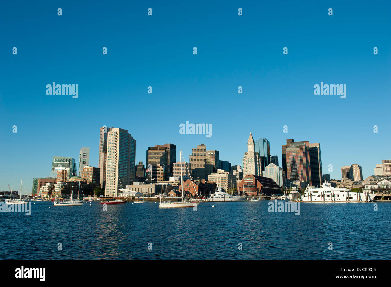 Entire skyline with Custom House Tower, Financial District, Long Wharf, view from Boston Harbour, Boston, Massachusetts - Stock Image