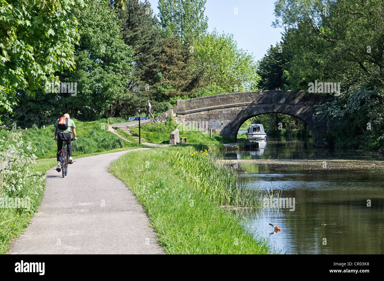 A view looking north along the towpath of the Lancaster Canal with stone bridge and cyclist - Stock Image