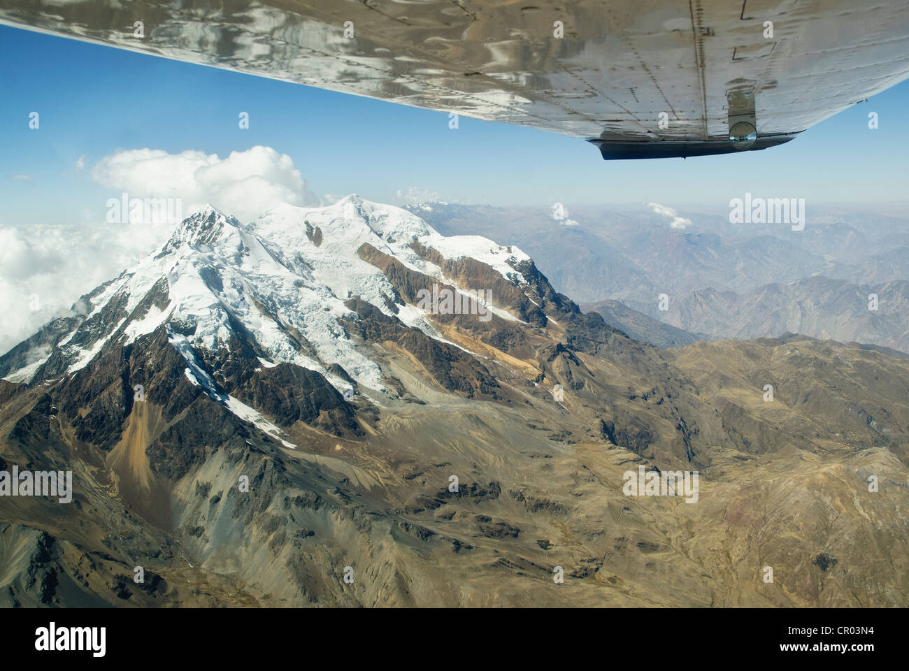 aerial view of Illimani mountain, 6400 meters above sea level - Stock Image