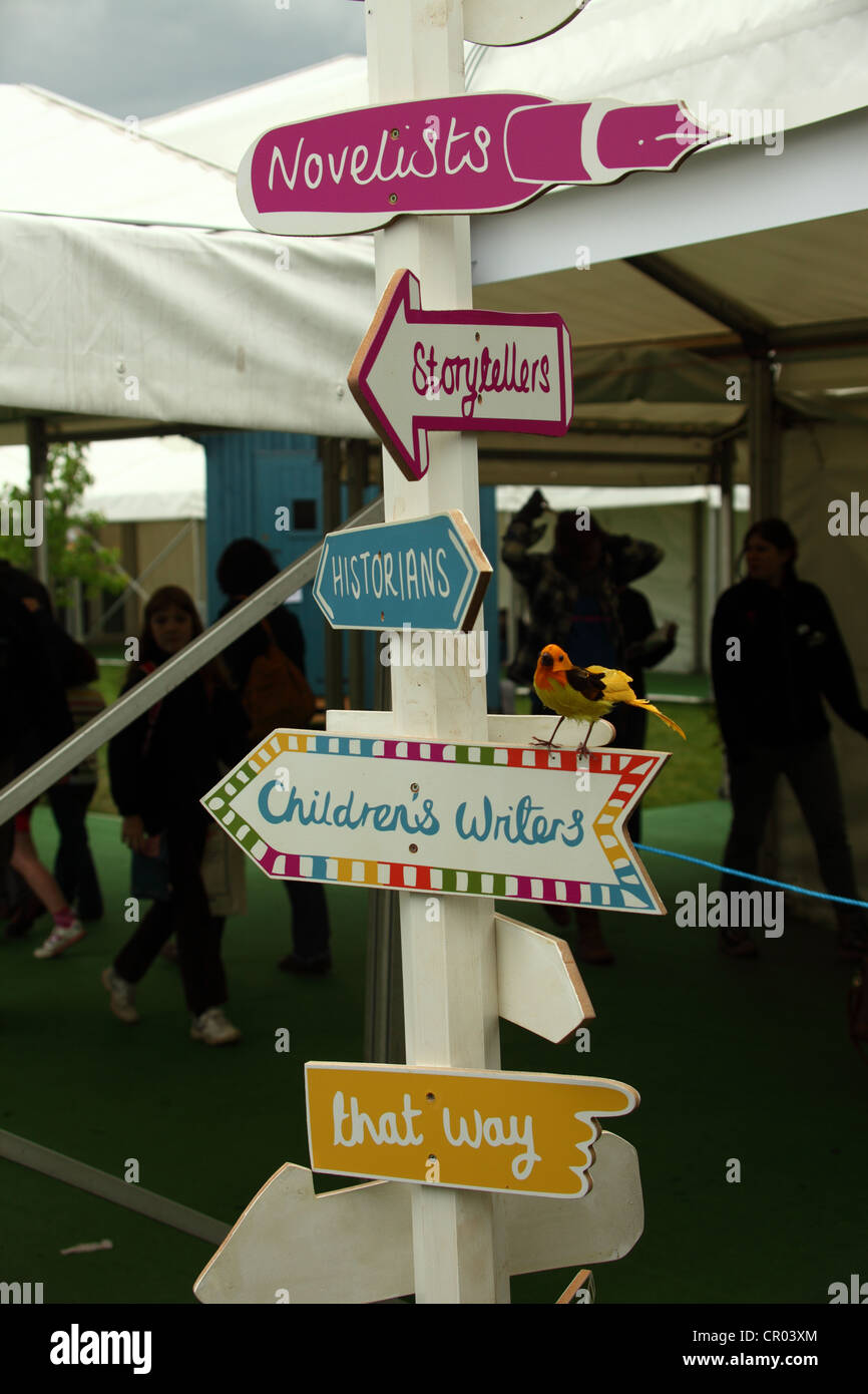 An informal signpost at the Hay Festival UK 2012 - Stock Image