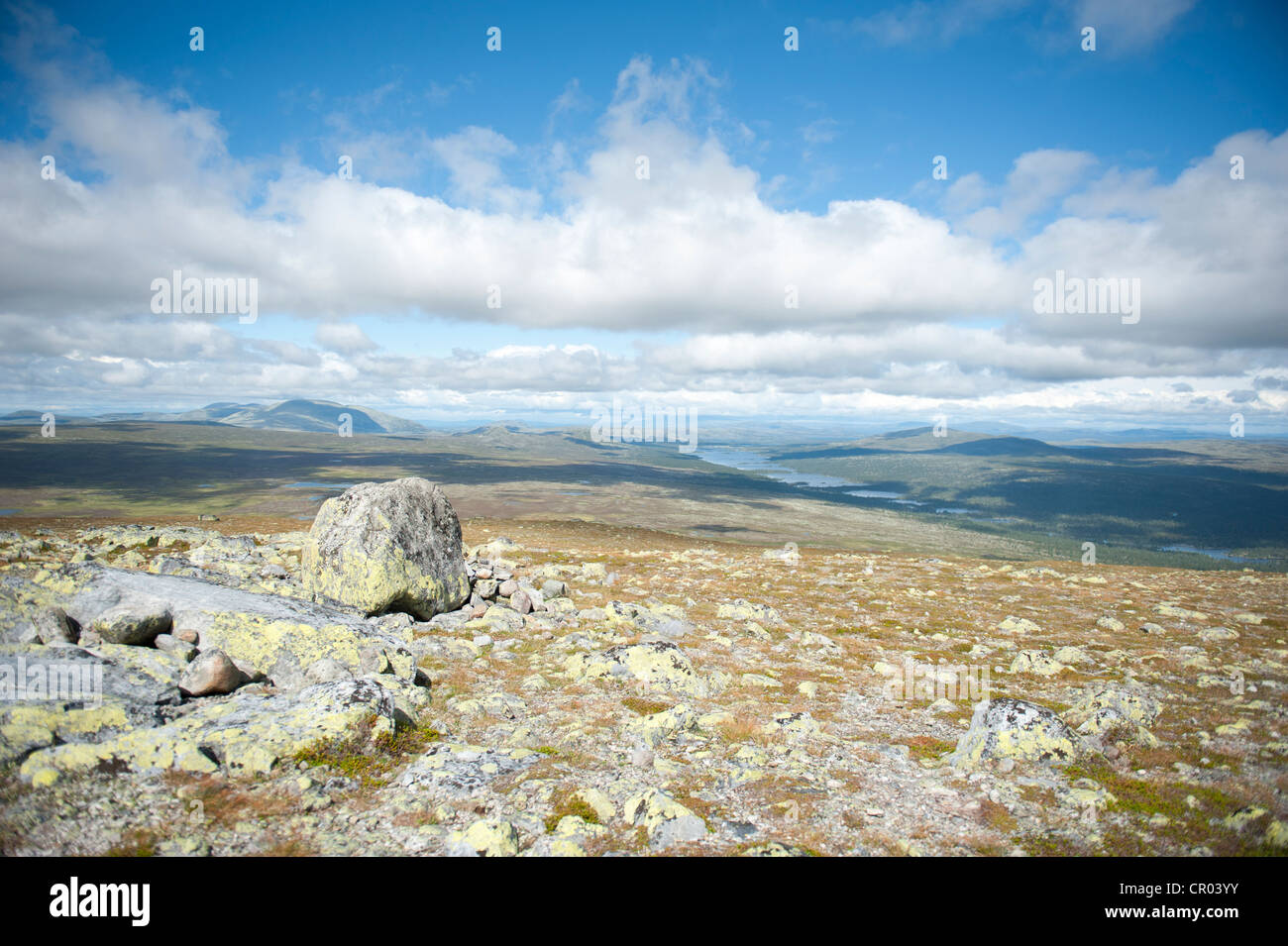 Panoramic view across moutnains, Fjaell and lakes from the summit of Mt Storvaetteshågna, Langfjaellet Nature - Stock Image