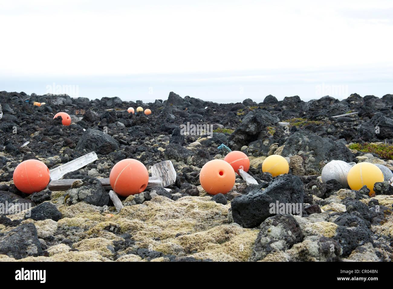 Buoys, swimmers, floating debris, stranded goods, near Dritvík, Snæfellsnes peninsula, Ísland, Iceland, - Stock Image