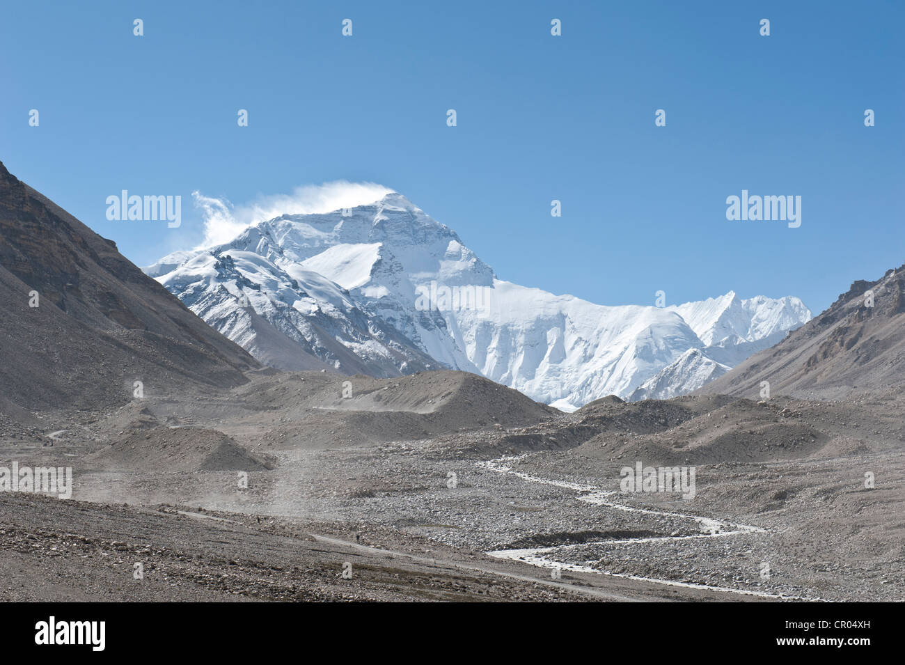 Summit of Mount Everest, Base Camp north, glacier flow, terminal moraine, the Himalayas, central Tibet, U-Tsang - Stock Image