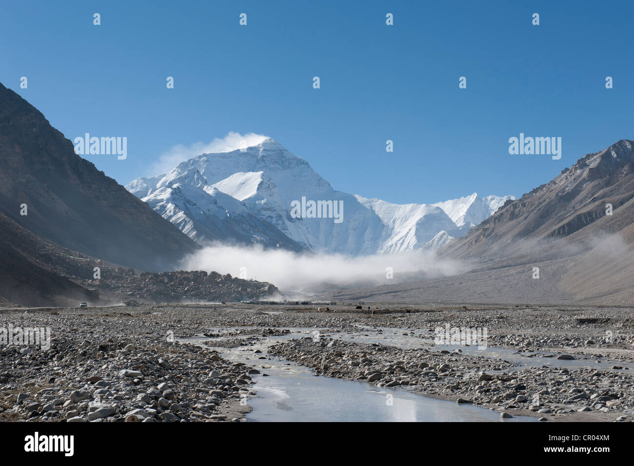 Summit of Mount Everest, light fog, Base Camp north side, glacial river, the Himalayas, central Tibet, U-Tsang - Stock Image