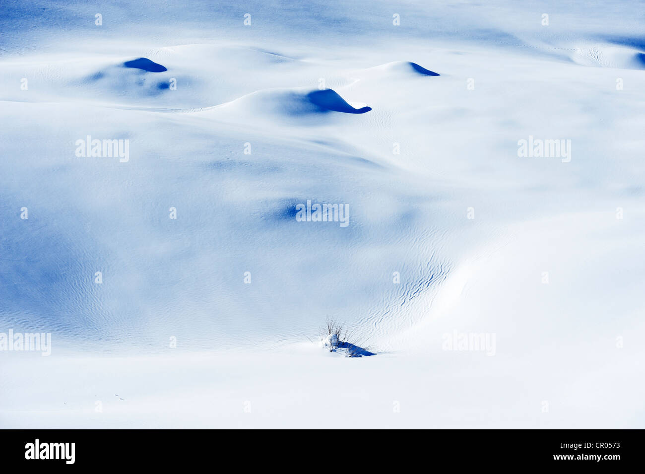 Snowdrift on Lake Truebsee near Engelberg, Obwalden, Switzerland, Europe - Stock Image