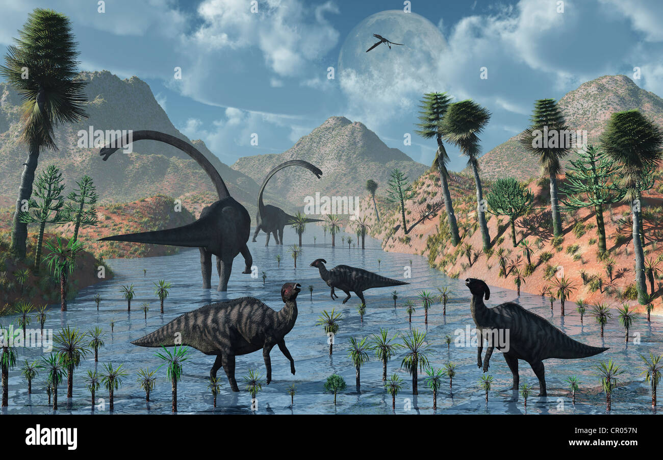 Watering Place. Sauropod & Duckbill Dinosaurs Co-Existing Peacefully Together. Stock Photo