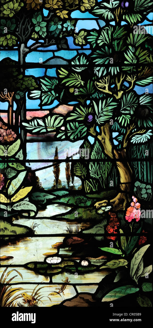 Stained glass window celebratiing the richness of the natural world, St. Gregory's Church, Sedbergh, Cumbria, - Stock Image