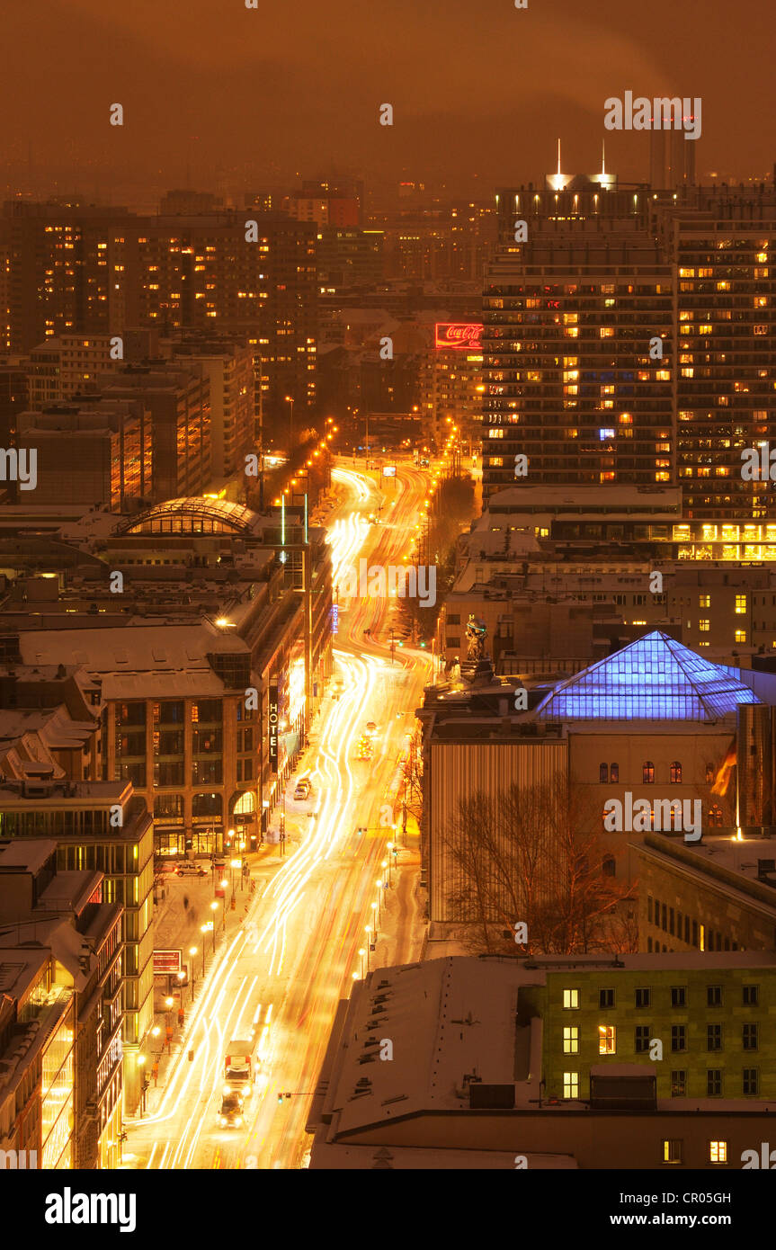 View from the Kollhoff building on the Potsdamer Strasse in the lights of the twilight, Berlin, Germany, Europe - Stock Image